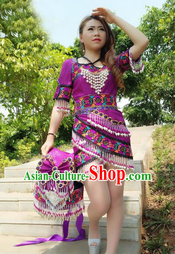 Traditional Chinese Miao Nationality Costume and Headwear, Hmong Folk Dance Ethnic Short Purple Dress, Chinese Minority Nationality Embroidery Clothing for Women