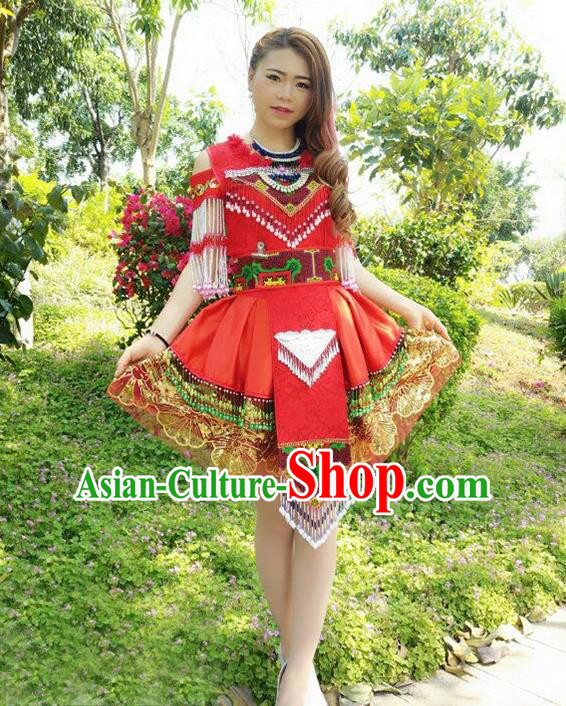 Traditional Chinese Miao Nationality Wedding Costume, Hmong Folk Dance Ethnic Red Tassel Short Pleated Skirt, Chinese Minority Nationality Embroidery Clothing for Women