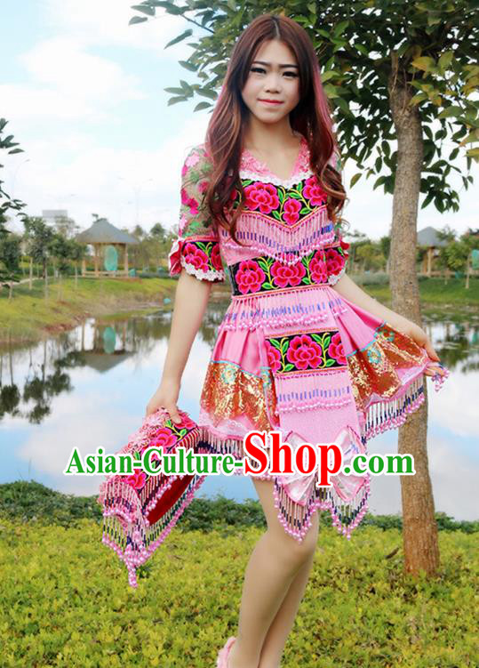 Traditional Chinese Miao Nationality Wedding Bride Costume Embroidered Pink Pleated Skirt and Hat, Hmong Folk Dance Ethnic Chinese Minority Nationality Embroidery Clothing for Women