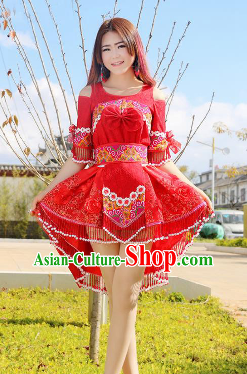 Traditional Chinese Miao Nationality Wedding Bride Costume Embroidered Red Pleated Skirt, Hmong Folk Dance Ethnic Chinese Minority Nationality Embroidery Clothing for Women