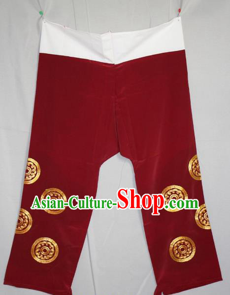 Traditional China Beijing Opera Takefu Costume Wine Red Pants, Ancient Chinese Peking Opera Wu-Sheng Warrior Embroidery Trousers Clothing