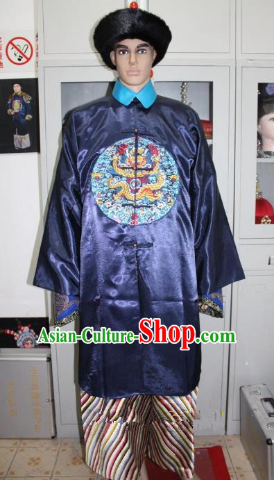 Top Grade Professional Beijing Opera Manchu Niche Costume Prince Blue Embroidered Robe, Traditional Ancient Chinese Peking Opera Qing Dynasty Officer Embroidery Clothing