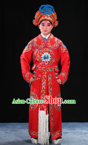 Traditional China Beijing Opera Takefu General Red Costume and Boots, Ancient Chinese Peking Opera Wu-Sheng Warrior Embroidery Yellow Clothing