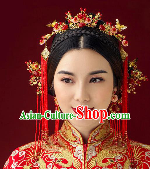Traditional Handmade Chinese Ancient Classical Hair Accessories Barrettes Xiuhe Suit Red Phoenix Coronet Complete Set, Tassel Step Shake Hanfu Hair Fascinators for Women
