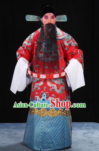 Top Grade Professional Beijing Opera Emperor Costume General Red Embroidered Robe and Belts, Traditional Ancient Chinese Peking Opera Royal Highness Embroidery Dragons Clothing