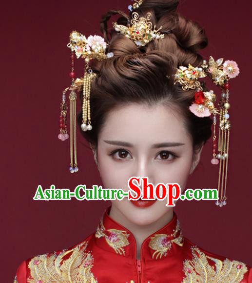 Traditional Handmade Chinese Ancient Classical Hair Accessories Barrettes Xiuhe Suit Pink Shell Hair Comb Complete Set, Long Tassel Step Shake, Hanfu Hairpins Hair Fascinators for Women