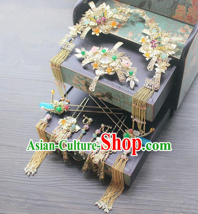 Traditional Handmade Chinese Ancient Classical Hair Accessories Barrettes Xiuhe Suit Phoenix Coronet Complete Set, Long Tassel Step Shake, Hanfu Hairpins Hair Fascinators for Women