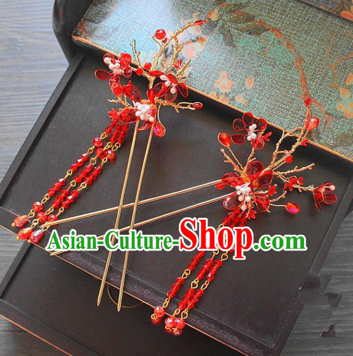 Traditional Handmade Chinese Ancient Classical Hair Accessories Barrettes Xiuhe Suit Red Beads Hair Stick, Long Tassel Step Shake, Hanfu Hairpins Hair Fascinators for Women