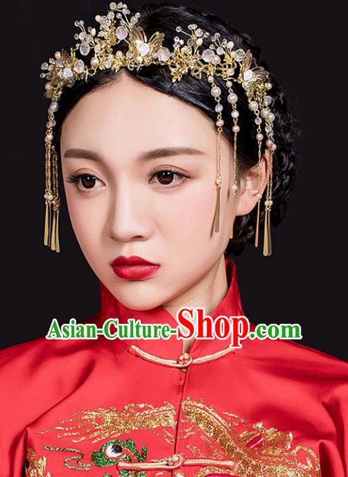 Traditional Handmade Chinese Ancient Classical Hair Accessories Barrettes Xiuhe Suit Phoenix Coronet Hair Clasp, Long Tassel Step Shake, Hanfu Hairpins Hair Fascinators for Women