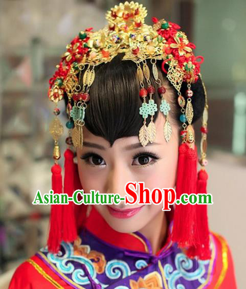 Traditional Handmade Chinese Ancient Classical Hair Accessories Barrettes Xiuhe Suit Cheongsam Tassel Phoenix Coronet, Hanfu Hairpins Hair Fascinators for Women