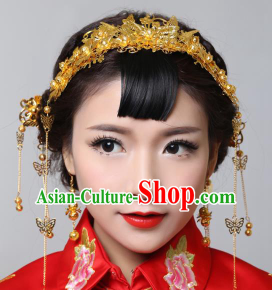 Traditional Handmade Chinese Ancient Classical Hair Accessories Barrettes Xiuhe Suit Cheongsam Golden Butterfly Tassel Hair Comb Complete Set, Hanfu Hairpins Hair Fascinators for Women