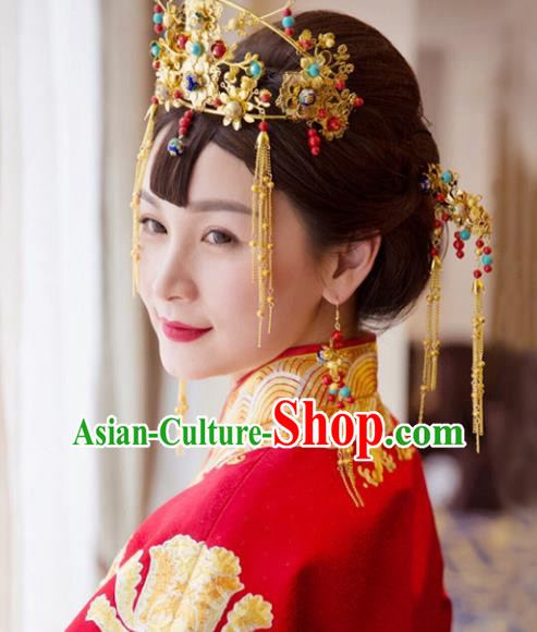 Traditional Handmade Chinese Ancient Classical Hair Accessories Xiuhe Suit Cheongsam Tassel Phoenix Coronet Complete Set, Hanfu Hairpins Hair Fascinators for Women