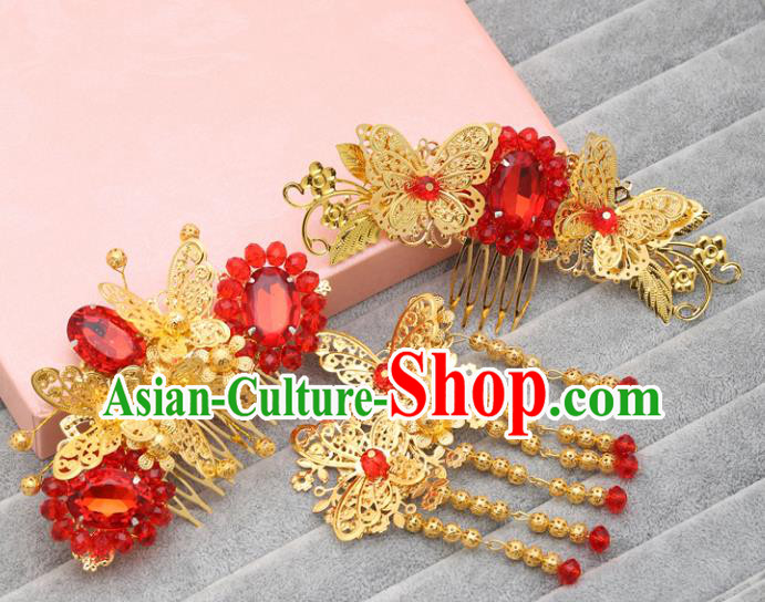 Traditional Handmade Chinese Ancient Classical Hair Accessories Barrettes Golden Hair Comb, Hanfu Hair Fascinators for Women