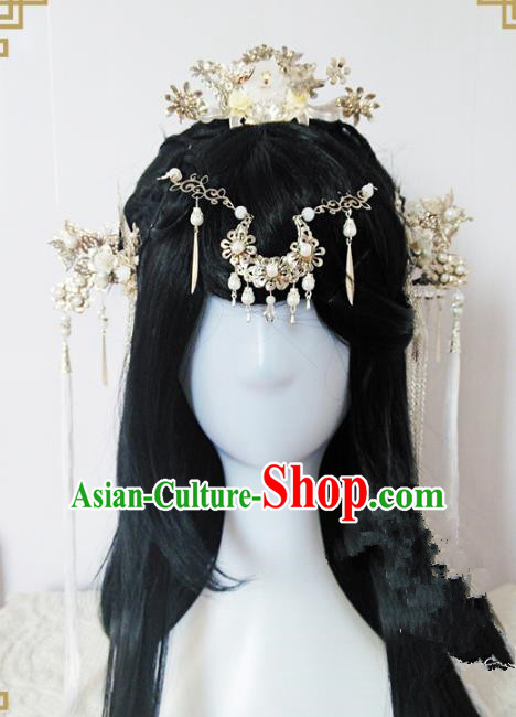 Traditional Handmade Chinese Ancient Classical Princess Hair Accessories Complete Set Tassel Forehead Ornament, Wedding Hairpins Hair Jewellery Hair Fascinators for Women