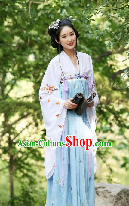 Traditional Chinese Hanfu Han Dynasty Princess Embroidery Costume, Elegant Hanfu Clothing Chinese Ancient Dress for Women