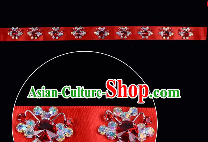 Traditional Beijing Opera Diva Hair Accessories Red Crystal Headband, Ancient Chinese Peking Opera Hua Tan Hair Clasp Headwear
