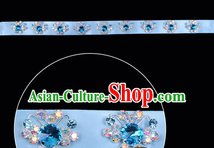 Traditional Beijing Opera Diva Hair Accessories Blue Crystal Headband, Ancient Chinese Peking Opera Hua Tan Hair Clasp Headwear