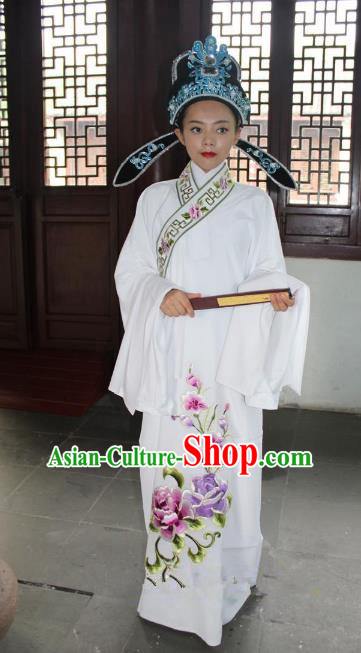Top Grade Professional Beijing Opera Niche Costume Lang Scholar White Embroidered Robe and Hat, Traditional Ancient Chinese Peking Opera Embroidery Clothing