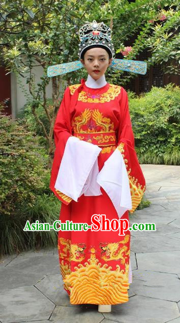 Top Grade Professional Beijing Opera Niche Costume Lang Scholar Red Embroidered Robe and Hat, Traditional Ancient Chinese Peking Opera Officer Embroidery Gwanbok Clothing