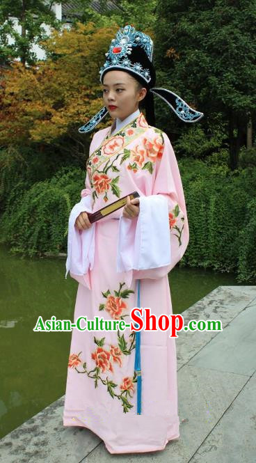 Top Grade Professional Beijing Opera Niche Costume Scholar Pink Embroidered Robe and Hat, Traditional Ancient Chinese Peking Opera Embroidery Gwanbok Clothing