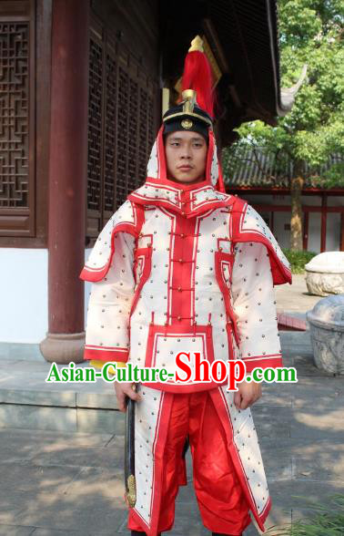 Traditional China Beijing Opera Qing Dynasty General Costume White Helmet and Armour, Ancient Chinese Peking Opera Manchu Imperial Bodyguard Warrior Clothing