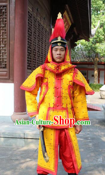 Traditional China Beijing Opera Qing Dynasty General Costume Yellow Helmet and Armour, Ancient Chinese Peking Opera Manchu Imperial Bodyguard Warrior Clothing