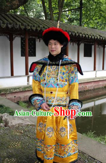 Traditional China Beijing Opera Qing Dynasty Emperor Costume Yellow Embroidered Robe, Ancient Chinese Peking Opera Manchu King Embroidery Dragon Clothing
