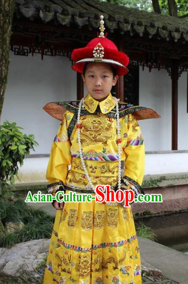 Traditional China Beijing Opera Qing Dynasty Emperor Costume Children Embroidered Robe, Chinese Peking Opera Manchu King Embroidery Dragon Clothing for Kids