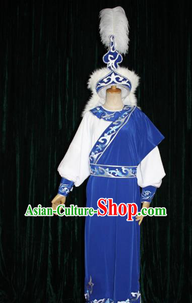 Top Grade Professional Beijing Opera Niche Costume Prince Embroidered Robe and Hat, Traditional Ancient Chinese Peking Opera Embroidery Clothing