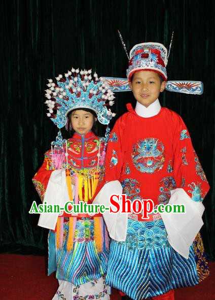 Top Grade Professional Beijing Opera Bride and Bridegroom Embroidered Dress, Traditional Ancient Chinese Peking Opera Embroidery Clothing for Kids
