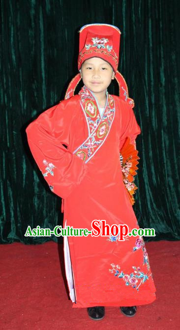 Top Grade Professional Beijing Opera Niche Costume Red Embroidered Robe, Traditional Ancient Chinese Peking Opera Lang Scholar Embroidery Clothing for Kids
