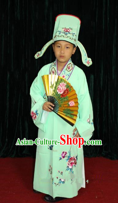 Top Grade Professional Beijing Opera Niche Costume Green Embroidered Robe, Traditional Ancient Chinese Peking Opera Lang Scholar Embroidery Clothing for Kids