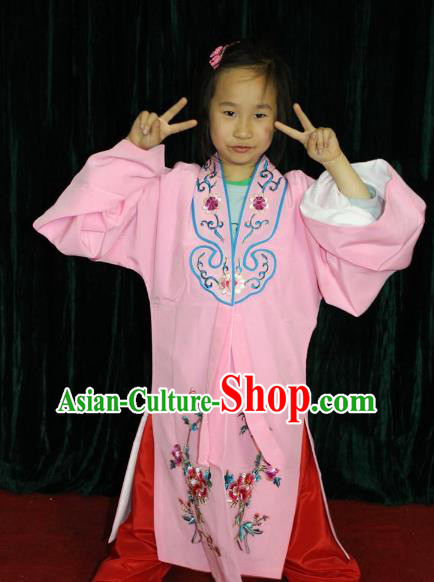 Top Grade Professional Beijing Opera Princess Costume Hua Tan Pink Embroidered Cape, Traditional Ancient Chinese Peking Opera Diva Embroidery Clothing for Kids