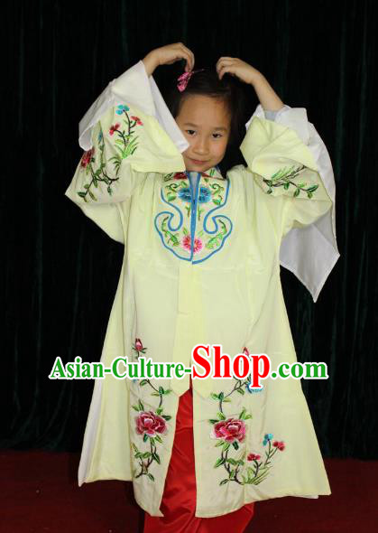 Top Grade Professional Beijing Opera Princess Costume Hua Tan Yellow Embroidered Cape, Traditional Ancient Chinese Peking Opera Diva Embroidery Clothing for Kids