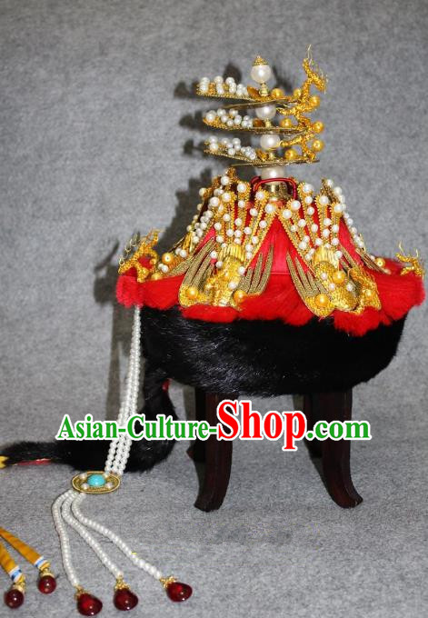 Traditional Handmade Chinese Ancient Classical Hair Accessories Peking Opera Empress Hat, China Beijing Opera Qing Dynasty Manchu Queen Headwear