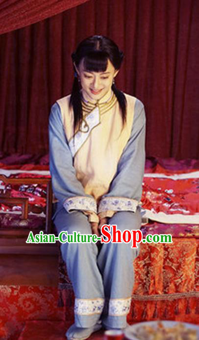 Traditional Chinese Qing Dynasty Maidservants Costume, Elegant Hanfu Clothing Chinese Ancient Republic of China Young Lady Clothing