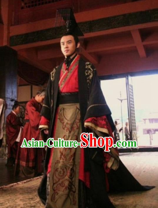 Traditional Chinese Ancient Emperor First Emperor of Qin Costume Embroidered Robe, Elegant Hanfu Clothing Chinese Qin Dynasty Majesty Clothing