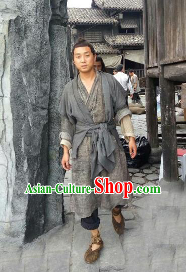 Traditional Chinese Ancient Peasant Costume, Elegant Hanfu Clothing Chinese Republic of China Farmer Clothing