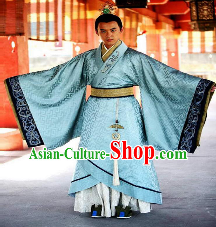 Traditional Chinese Ancient Qin Dynasty Prince Embroidered Costume, China Han Dynasty Majesty Embroidery Dragon Hanfu Blue Robe Clothing