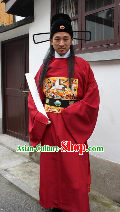 Top Grade Professional Beijing Opera Costume Ming Dynasty Minister Embroidered Robe, Traditional Ancient Chinese Peking Opera Embroidery Gwanbok Clothing