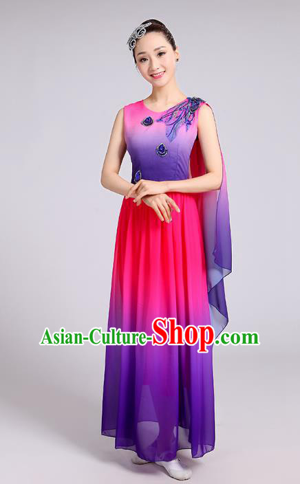 Traditional Chinese Modern Dance Yangge Fan Dance Costume, Chinese Classical Umbrella Dance Purple Dress Yangko Embroidery Clothing for Women