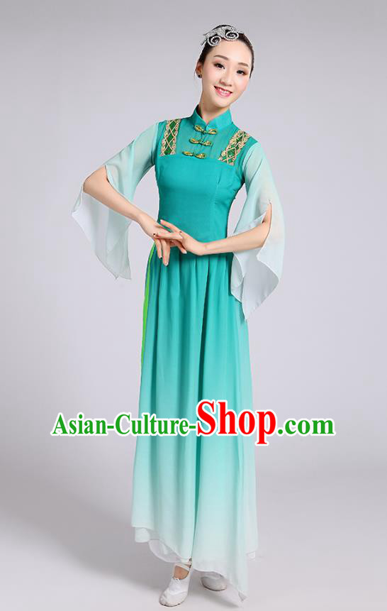 Traditional Chinese Yangge Fan Dance Costume, Chinese Classical Umbrella Dance Green Uniform Yangko Embroidery Clothing for Women