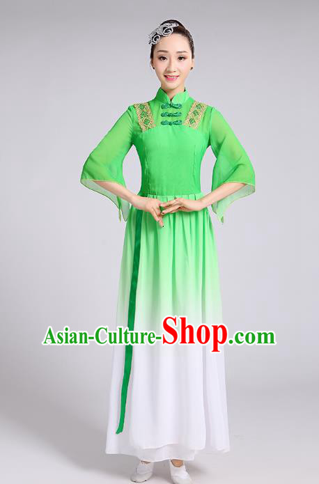 Traditional Chinese Yangge Fan Dance Costume, Chinese Classical Umbrella Dance Green Chiffon Uniform Yangko Embroidery Clothing for Women