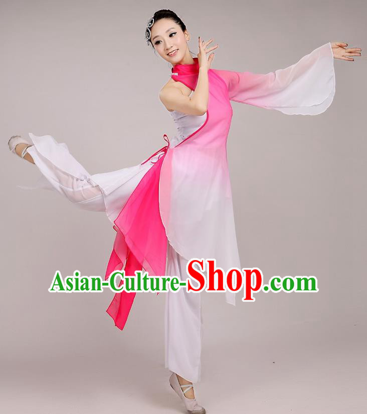 Traditional Chinese Folk Dance Costume Yangge Dance Pink Chiffon Uniform, Chinese Classical Fan Dance Umbrella Dance Yangko Embroidery Clothing for Women
