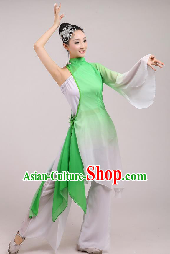 Traditional Chinese Folk Dance Costume Yangge Dance Light Green Chiffon Uniform, Chinese Classical Fan Dance Umbrella Dance Yangko Embroidery Clothing for Women