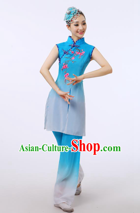 Traditional Chinese Folk Dance Costume Yangge Dance Blue Uniform, Chinese Classical Fan Dance Umbrella Dance Yangko Embroidery Cheongsam Clothing for Women