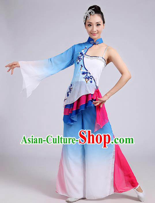 Traditional Chinese Folk Dance Costume Yangge Dance Uniform, Chinese Classical Fan Dance Umbrella Dance Yangko Embroidery Blue Clothing for Women