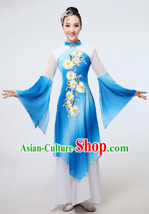 Traditional Chinese Folk Dance Costume Yangge Dance Uniform, Chinese Classical Fan Dance Umbrella Dance Yangko Printing Blue Clothing for Women