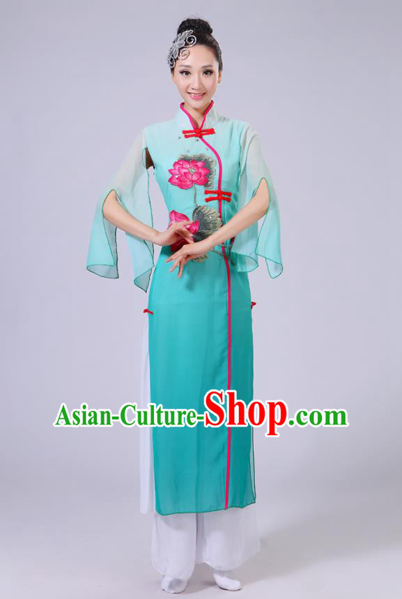 Traditional Chinese Folk Dance Costume Yangge Dance Printing Lotus Peacock Green Uniform, Chinese Classical Fan Dance Umbrella Dance Yangko Clothing for Women
