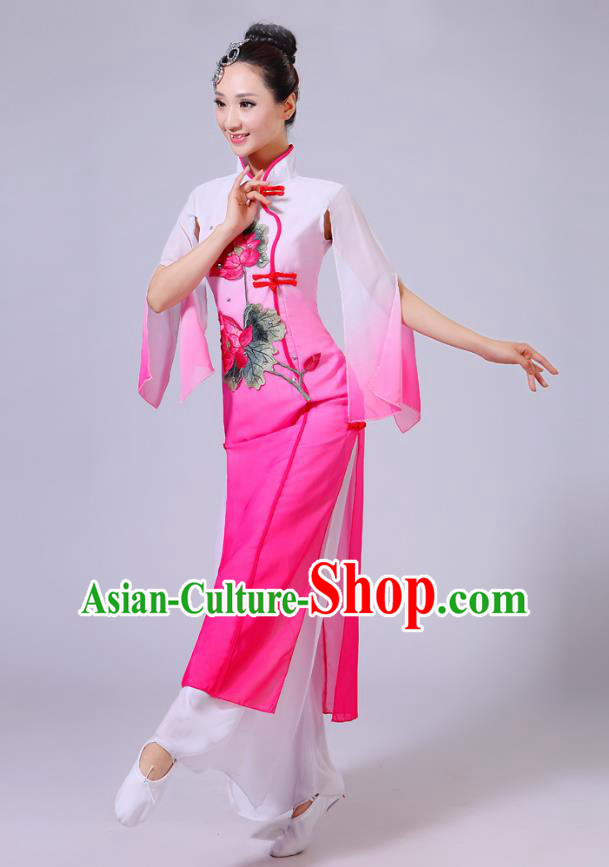 Traditional Chinese Folk Dance Costume Yangge Dance Printing Lotus Pink Uniform, Chinese Classical Fan Dance Umbrella Dance Yangko Clothing for Women